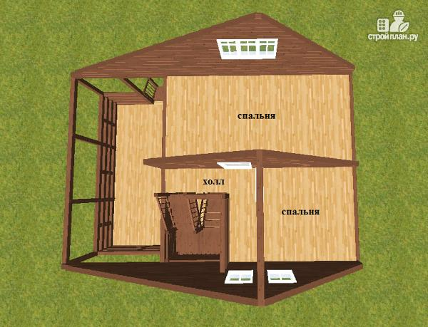 Фото 7: проект дом из бруса 6х6 с террасой 6х3