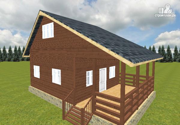 Фото 13: проект дом из бруса 6х6 с террасой 6х3
