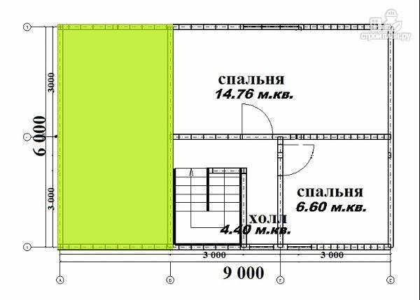 Фото 6: проект дом из бруса 6х6 с террасой 6х3