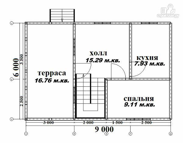 Фото 4: проект дом из бруса 6х6 с террасой 6х3