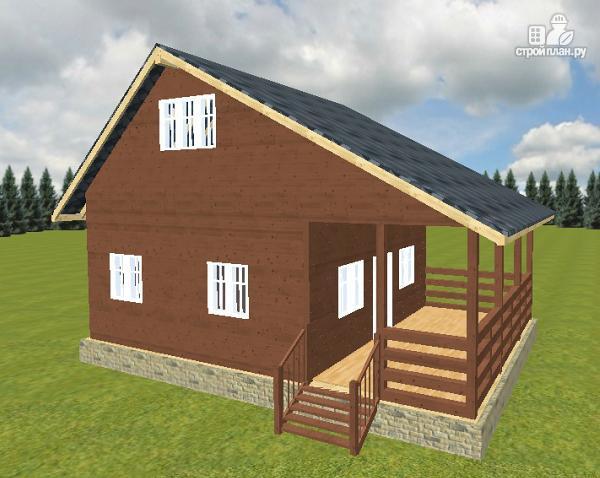 Фото: проект дом из бруса 6х6 с террасой 6х3