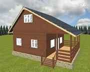 Фото: дом из бруса 6х6 с террасой 6х3