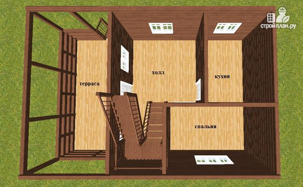 Фото 5: проект дом из бруса 6х6 с террасой 6х3