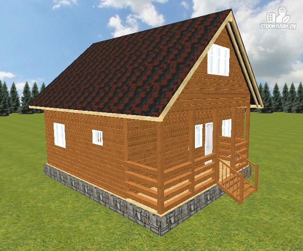 Фото 12: проект дом из бруса с террасой