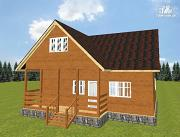 Проект дом из бруса с террасой