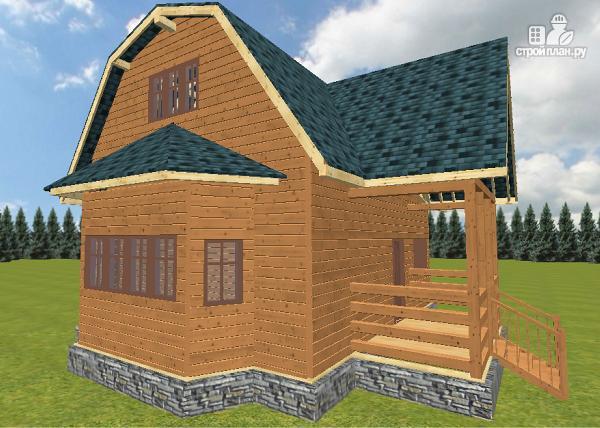 Фото 12: проект дом из бруса 8х9 с эркером и террасой
