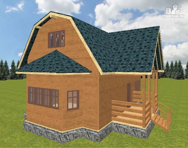Фото: проект дом из бруса 8х9 с эркером и террасой
