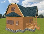Проект дом из бруса 8х9 с эркером и террасой