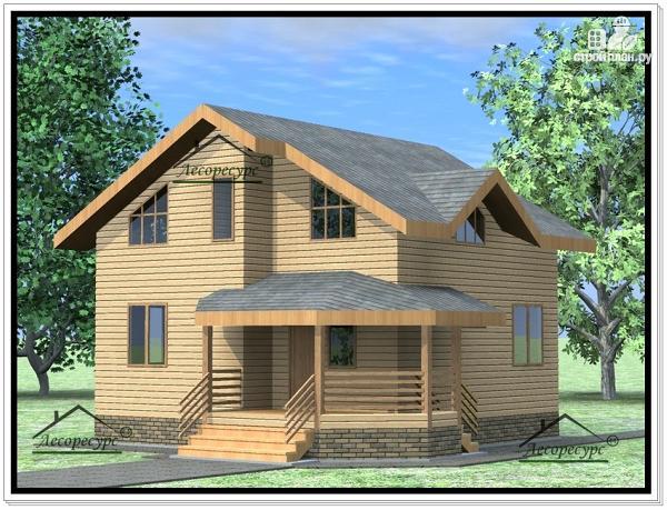 Фото: проект дом из бруса 9 × 9