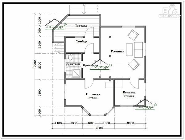 Фото 5: проект дом из бруса 9 × 9