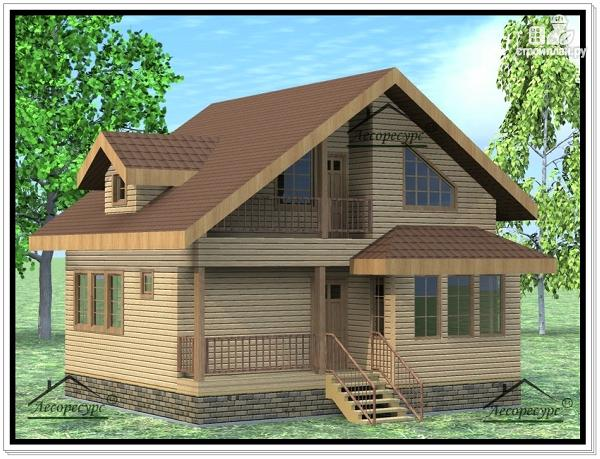 Фото: проект дом из бруса 7 × 8