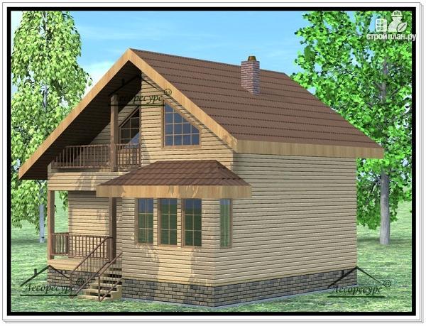 Фото 2: проект дом из бруса 7 × 8
