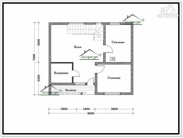 Фото 6: проект дом из бруса 7 × 8