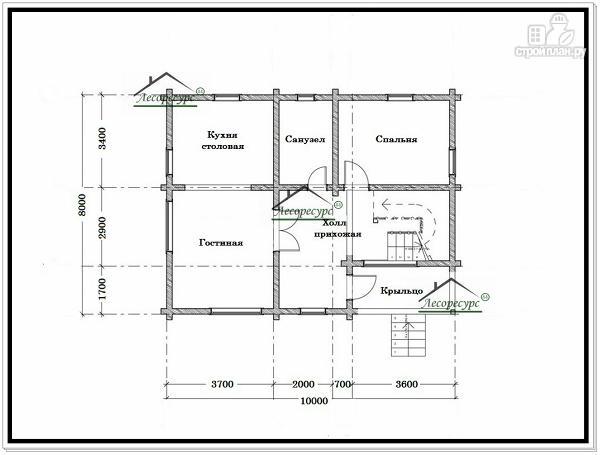 Фото 5: проект дом 8 × 10 с мансардой