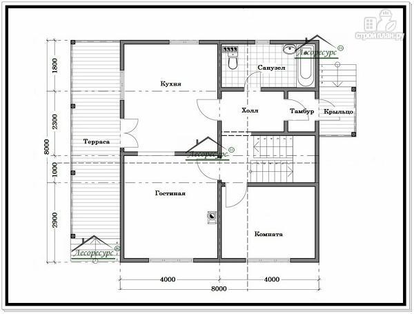 Фото 5: проект дом из бруса 8 × 8