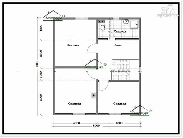 Фото 6: проект дом из бруса 8 × 8