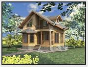 Фото: дом из бруса 7 × 7