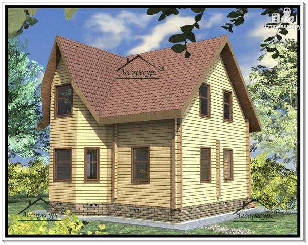 Фото 2: проект дом 8 × 8 из бруса