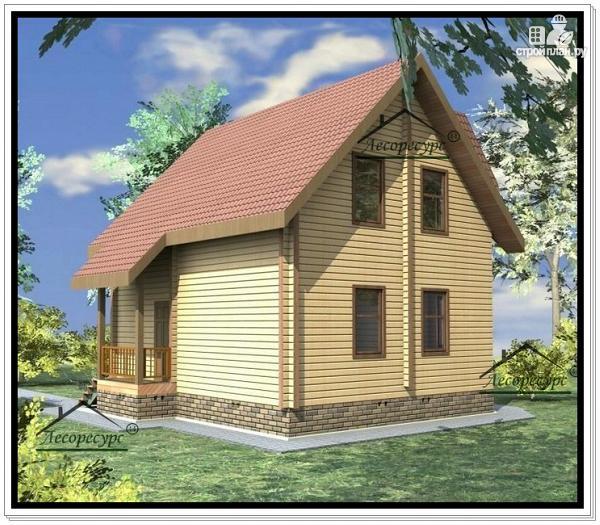 Фото 4: проект дом 8 × 8 из бруса