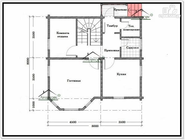 Фото 5: проект дом 8 × 8 из бруса