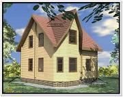 Фото: дом 8 × 8 из бруса