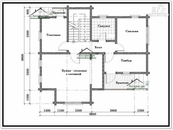 Фото 5: проект дом из бруса 8.6 × 9.6