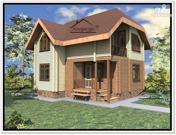 Фото 2: проект дом из бруса 8.6 × 9.6