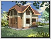 Проект дом из бруса 8.6 × 9.6