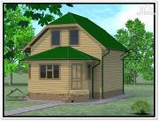Фото: дом из бруса 6 × 7