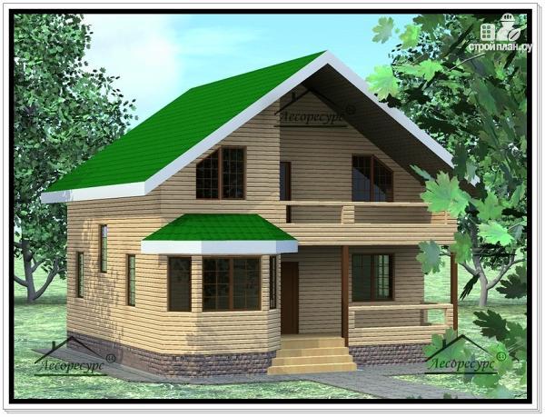 Фото 2: проект дом из бруса 9 × 9 с мансардой