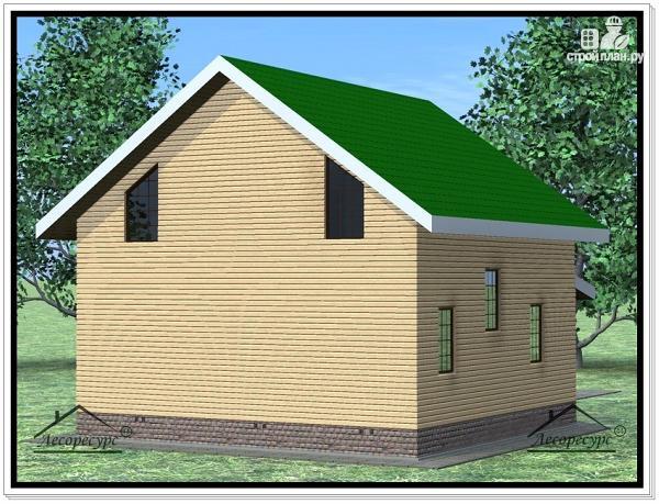 Фото 3: проект дом из бруса 9 × 9 с мансардой