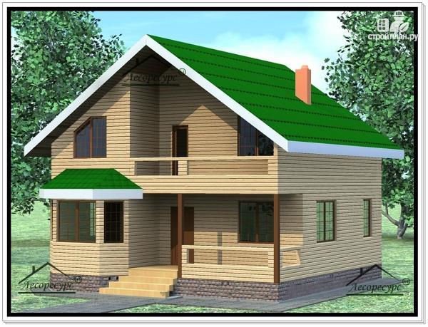 Фото: проект дом из бруса 9 × 9 с мансардой
