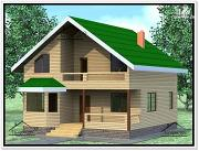 Фото: дом из бруса 9 × 9 с мансардой