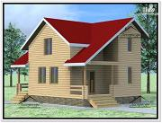 Фото: дом из бруса 9 × 8 с мансардой