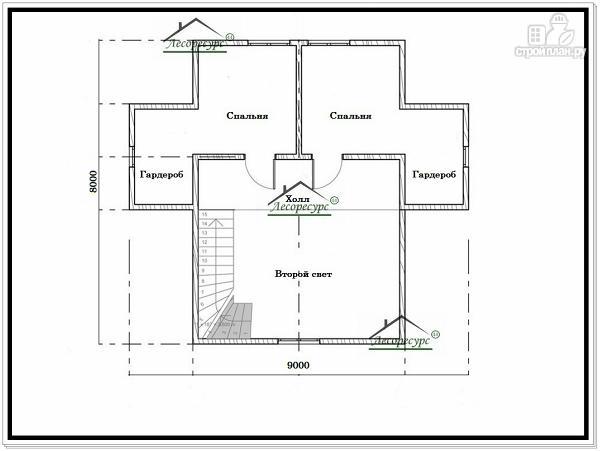 Фото 6: проект дом из бруса 9 × 8 с мансардой
