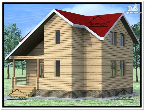 Фото 4: проект дом из бруса 9 × 8 с мансардой