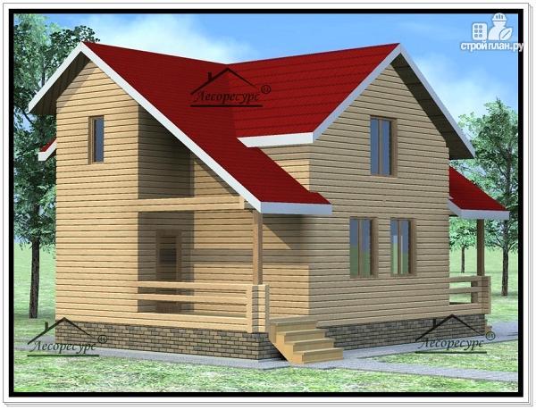 Фото 2: проект дом из бруса 9 × 8 с мансардой