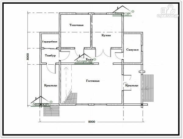 Фото 5: проект дом из бруса 9 × 8 с мансардой