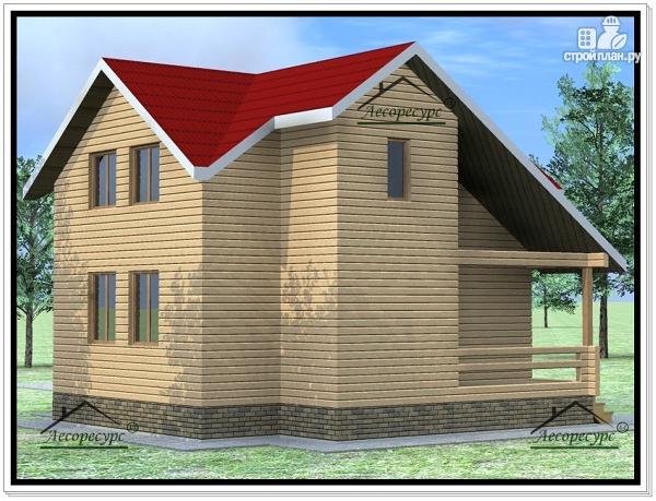 Фото 3: проект дом из бруса 9 × 8 с мансардой