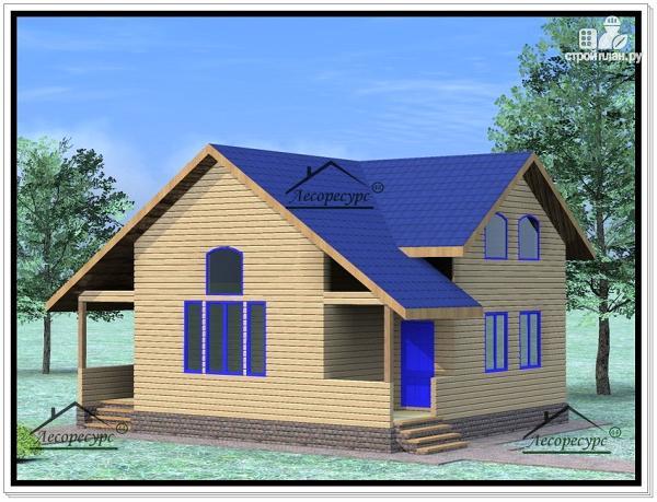 Фото 2: проект дом из бруса 9×10 с мансардой