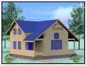 Фото: дом из бруса 9×10 с мансардой
