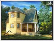 Фото: дом 9 × 8 из бруса