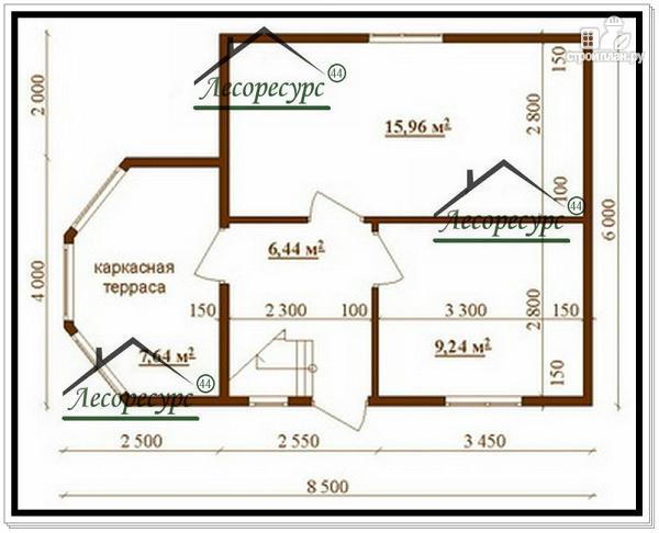 Фото 2: проект дом 6 × 6 из бруса