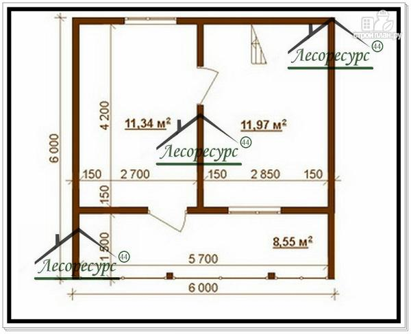Фото 3: проект дом 8 × 6 из бруса