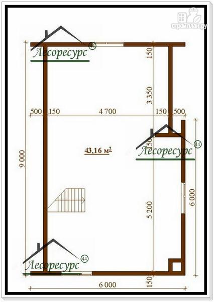 Фото 3: проект дом из бруса 6 × 9 с ломаной крышей