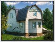 Фото: дом из бруса 6 × 9 с ломаной крышей
