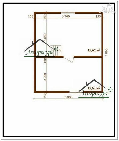 Фото 3: проект дом 7 × 6 из бруса