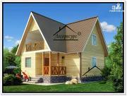 Фото: дом 8 × 9 из бруса с мансардой
