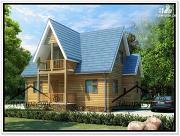 Фото: дом 9 × 6 с мансардой из бруса