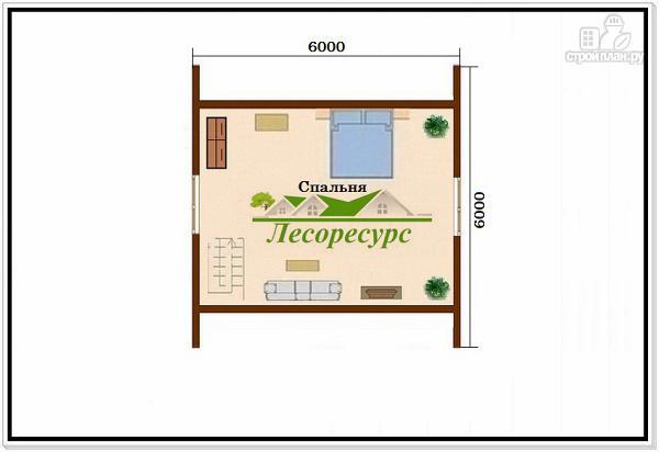Фото 3: проект дачный домик 6 × 6 из бруса